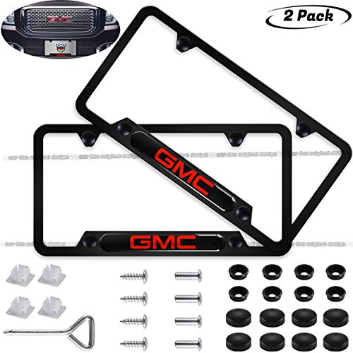 Car Fan 2-Pieces GMC Logo Stainless Steel Resin License Plate Frame,Before and After License Plate Frame for GMC