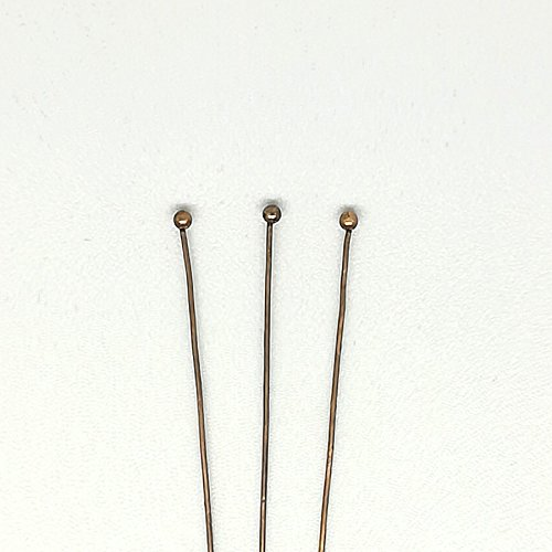 Plated Brass Head Pins - Ball Head Pin 22 Gauge(0.6mm) Thickness, 2.5