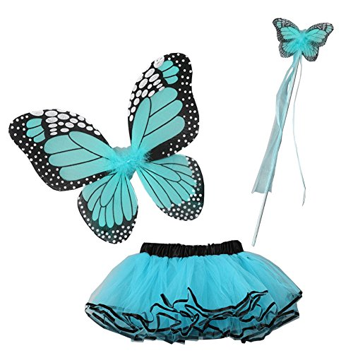 Little Girls Turquoise Butterfly Wings Wand Halloween Tutu 3 Pcs Set 2-4T