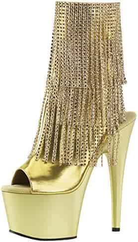 a6b4724bbc52d7 Summitfashions Womens Gold Ankle Boots Rhinestone Shoes Fringe Booties Open  Toe 7 inch Heels