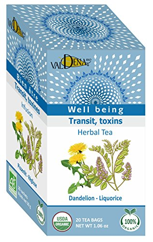 - Valdena Bio Well Being Line Dandelion Licorice Organic Tea Infusion, Caffeine Free Herbal Tea Blend, All-Natural, Kosher and USDA Certified, 20 Count, 3 Pack, 60 Individually Wrapped Enveloped Hot Tea