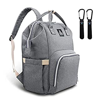 Hafmall Diaper Bag Backpack - Waterproof Multifunctional Large Travel Nappy Bag (Gray)