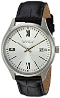 Bulova Men's Quartz Stainless Steel and Leather Casual Watch, Color:Black (Model: 43B143)