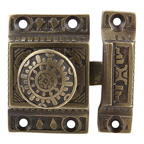 Set of 2 Solid Brass Cabinet Latch Handmade Antique Brass Finish Latch for Cabinet Closet Kitchen Door Sold as Each Windsor Design (Antique Reviews Cupboard)