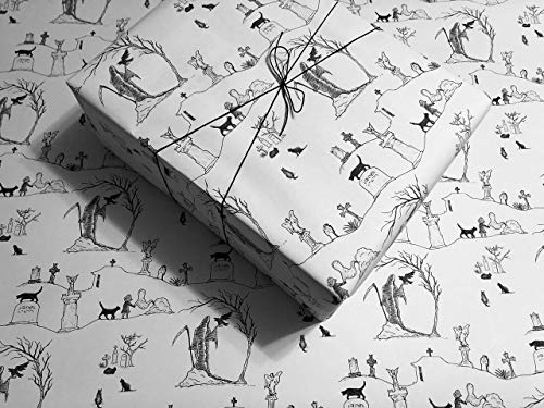 (Graveyard Toile on White Gothic Wrapping Paper - up to 8 Feet of Birthday Gift Wrap )