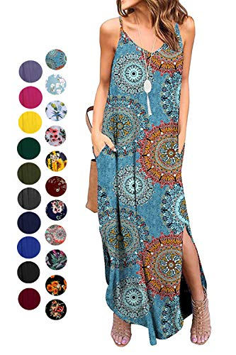 Kyerivs Women's Summer Dress Casual Loose Beach Cover Up Long Plain Print Cami Maxi Dresses with Pocket Bohemian XXL (22W) (Bohemian Sundress Dress)