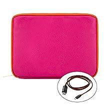 "Vangoddy Irista 7"" Tablet Sleeve for Huawei MediaPad M3 8.4"" / iRulu Walknbook 2Mini 7"" / Jumper EZpad mini3 8"" / Onda V820w 8"" (Magenta / Orange) + USB Cable"