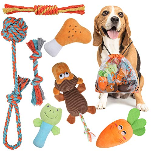 7 Pack Puppy Toys – Cute Stuffed Plush Squeaky Dog Chew Toys, Durable Teething Rope Toys with Laundry Bag for Small Dog…