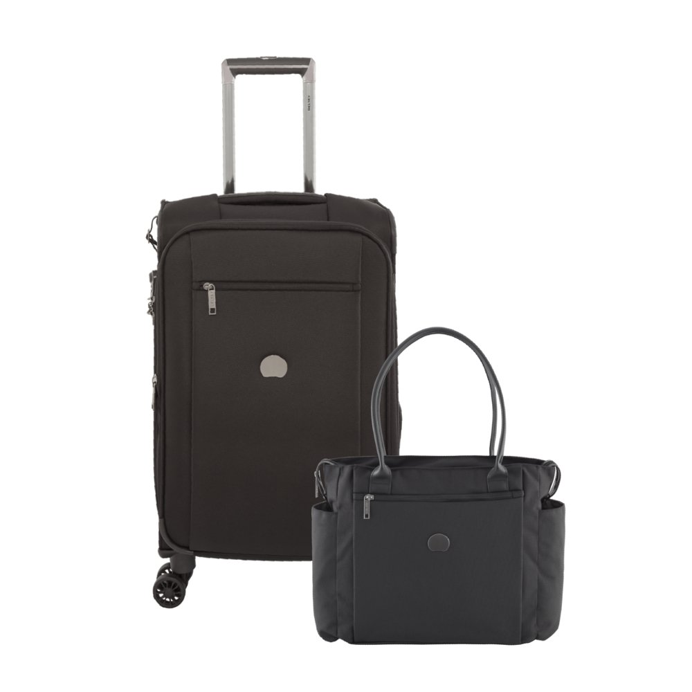 Delsey Luggage Montmartre 2 Piece Tote and 21 Inch Suitcase, Black by DELSEY Paris