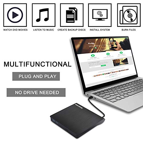 External DVD Drive for Laptop - USB 3.0 Portable Slim Burner Suitable for Compact Disc CD-R/DVD+R/DVD-R/DVD+R DL and Rewritable Disc CD-RW/DVD-RW/DVD+RW(Black) by HOCOMO (Image #2)