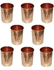Water Drinking Glasses Set of 8, Ayurvedic Product Pure Copper Tumbler for Healing, Capacity 350 ML