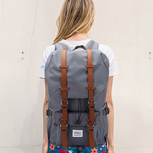 KAUKKO Outdoor Travel Men Backpack, Hiking Camping Canvas Rucksack (Black)