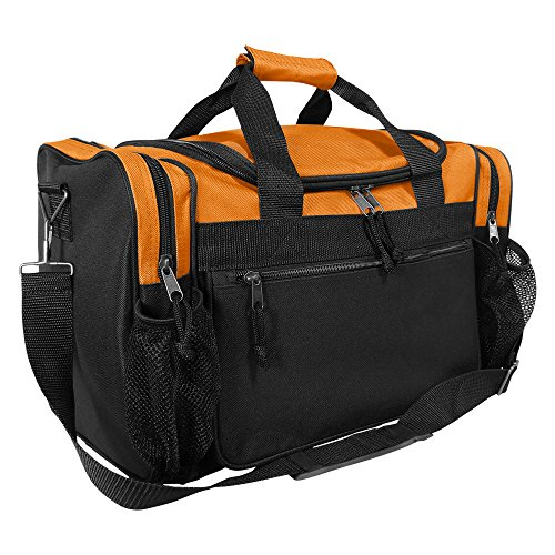 DALIX 17' Duffle Bag Water Bottle Mesh Pockets (Black, Gold, Blue, Red, Purple, Pink) (Orange)
