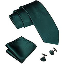 Emerald Green Necktie Set Solid Handkerchief Cufflinks Silk Ties for Men