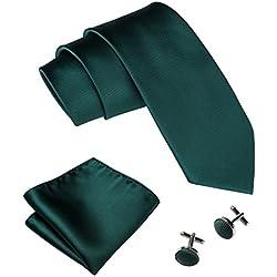 Emerald Green Necktie Set Solid Handkerchief Cufflinks Silk Ties for Men