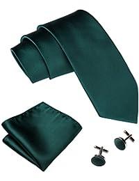 Mens Tie Set Solid Color Neckties Plain Silk Ties