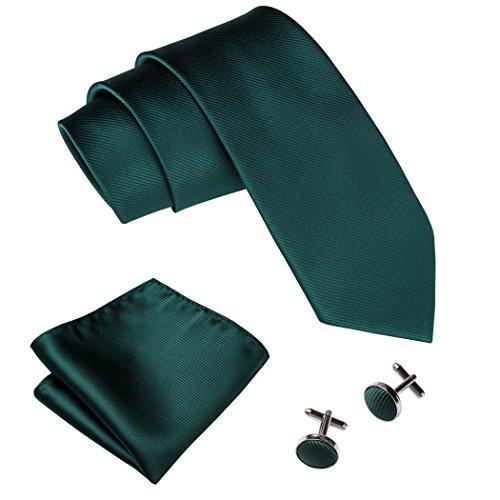 Green Necktie Tie (Barry.Wang Emerald Green Necktie Set Solid Color Silk Ties for Men)