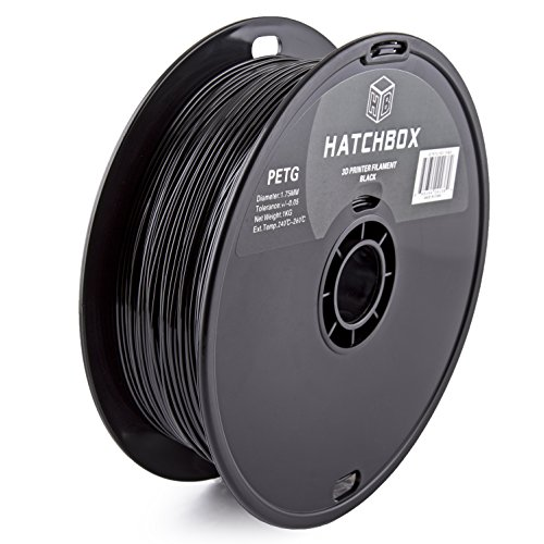 HATCHBOX 3D PETG-1KG1.75-BLK PETG 3D Printer Filament, Dimensional Accuracy +/- 0.05 mm, 1 kg Spool, 1.75 mm, Black