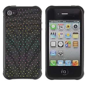 LASTONE PHONE CASE / Suave Silicona Caso Carcasa de Caucho Funda para Apple Iphone 4 / 4S / Dot Grey Abstract Rainbow Pattern