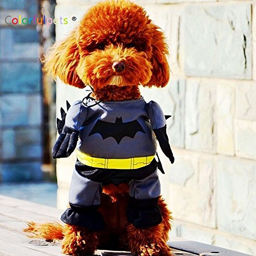 [Batman Pet Costume with Cloak Halloween Dog Apparel Pet Clothes (S)] (Bat Costume For Cat)