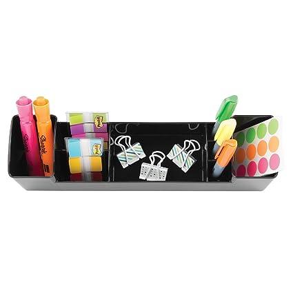 ... de escritorio con 8 compartimentos | Sistema de organización con portalápices | Organizadores de oficina y baño | Plástico Negro: Home & Kitchen