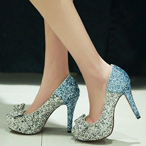 dbeac49e ... COOLCEPT Mujer Moda Sin Cordones Tacon de Aguja Bombas Zapatos Shiny  Glitter Cerrado Boda Zapatos With ...