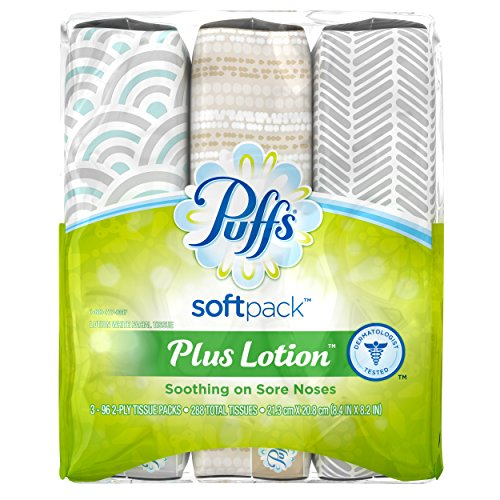Puffs Plus Soft Pack Plus Lotion Facial Tissue - 3ct
