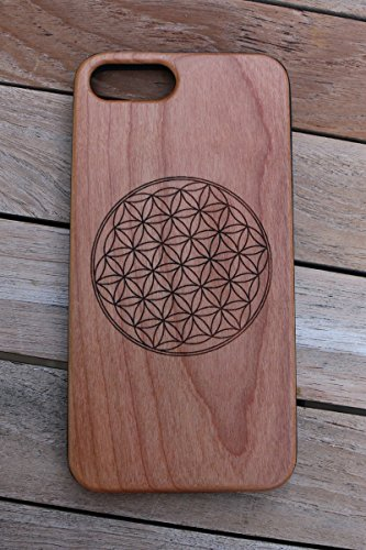 Creation Flower ((CH7) Flower Of Life Custom Engraved On A Cherry Wood Phone Case With Flexible TPU Sides For IPhone 6, 7 And 8 (CH7-FLOWEROFLIFE))