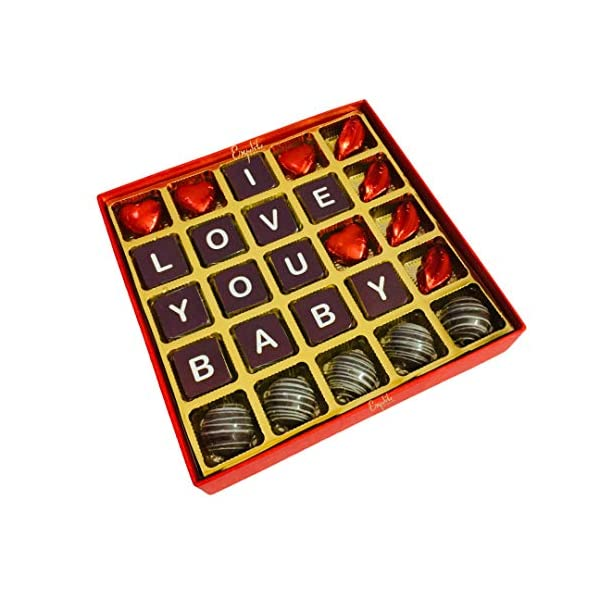 5175VdBr%2BaL Expelite Personalised Valentines Day Gift / I Love You Baby Chocolate Box Chocolate Gift Pack