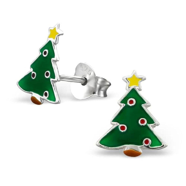 1555ec631e91 So Chic Joyas - Pendientes Niños árbol Navidad Esmalte Plata 925 Venta  caliente 2018