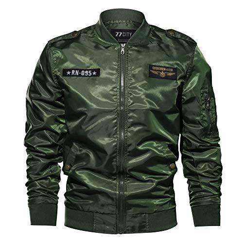 CUCUHAM Men's Autumn Winter Casual Jacket Long Sleeves Military Clothing Zipper Coat(ArmyGreen,X-Large)