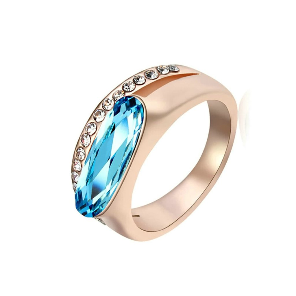 Gnzoe Womens Stainless Steel Long Oval Line Crystal Colorful Blue Annniversary Wedding Bands