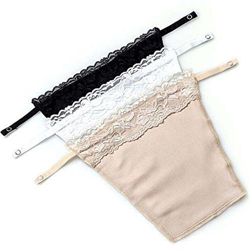 3pcs Lady Lace Clip-on Mock Camisole Bra Insert Overlay Modesty Panel Vest