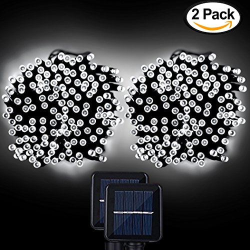Solar String Lights, Lemontec 200 Led Holiday String Lighting Outdoor Solar Patio Lights Fit Chrismas Garden Wedding Party Landscape[White], 2 Pack 400 LED (Shielded Landscape Well Light)