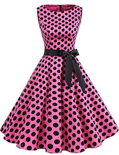 Gardenwed Women's Audrey Hepburn Rockabilly Vintage Dress 1950s Retro Cocktail Swing Party Dress Pink Black Dot XL -