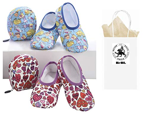 Snoozies Women's Cute Prints Designs Plush Skinnies Travel Slippers with Pouch & Gift Bag (Medium, Hearts & -