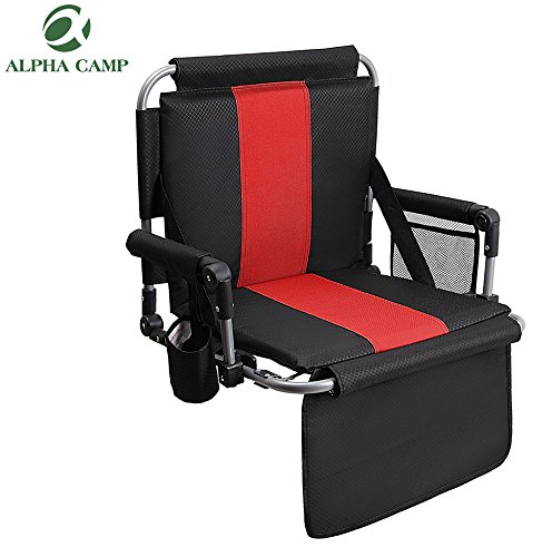 ALPHA CAMP Stadium Seat Chair for bleacher with Arms and Side Pocket Black Red