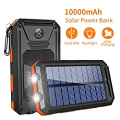 Why you choose GRDE 10000mAh solar charger?                            It has dual USB ports so you can charge two devices simultaneously.                     An extra Compass included for emergency purposes.                  ...