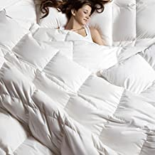 C&W Luxurious Goose Down Comforter King Size Duvet Insert 800TC, 58 Oz Fill Weight ,All Season Lightweight Down Comforter (King Size,White)