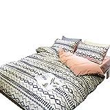 OTOB Pink Blue Geometric Girls Twin Duvet Cover Set for Kids Children Bed 100% Cotton Teen Bedding Sets with 1 Comforter Cover 2 Pillowcases Zipper and 4 Corner Ties, Elegant Modren Home Textile Decor