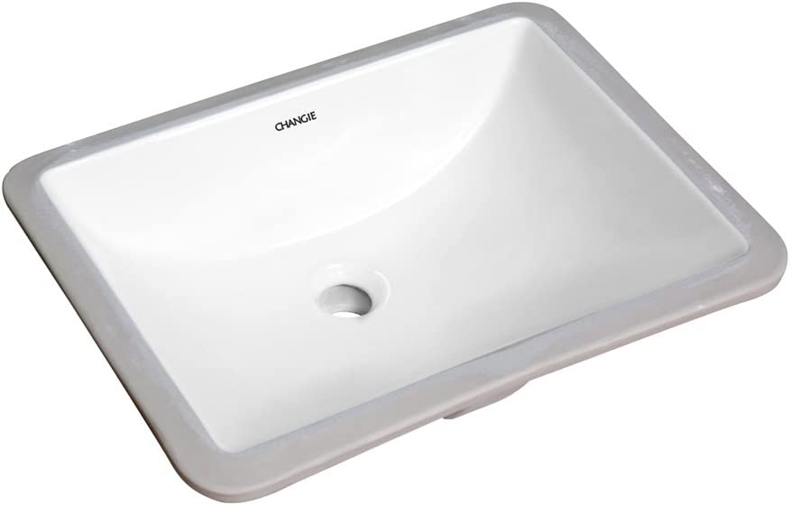 CHANGIE Rectangular Lavatory Undercounter Bathroom Ceramic Sink 1633W,White,18×13 inches