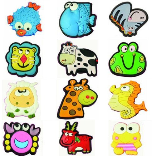 """Price comparison product image 12 Large 1"""" Cutesy Animal Novelty Shoe Snap On Decorations, Charms, Buttons, Widgets for Clogs, Crocs, Bracelets, & More"""