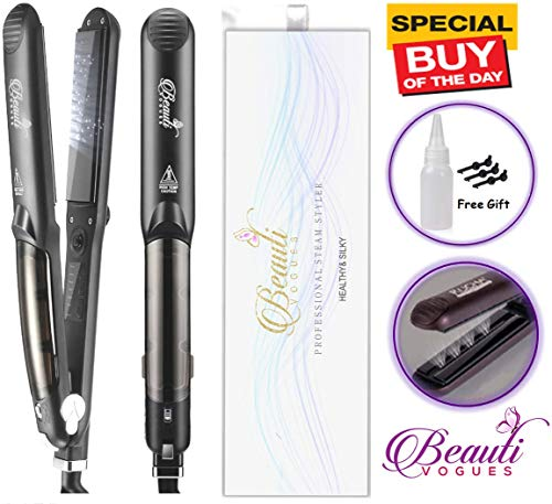 Steam Flat Iron Hair Straightener, Professional Salon Ceramic Tourmaline Straighteners with Vapor Heat up Fast work with Argan Oil Infusion Treatment, 5 Modes For Dry & Wet Hair, 360°Swivel Cord 450ºF (For Inch Hair Irons Flat 12)