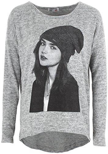 Emma & Giovanni -T-shirt / Top / Camiseta - Mujer manga - Gris