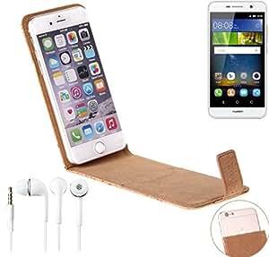 Caso de corcho cubierta del tirón para Huawei Y6Pro LTE, marrón + auriculares. cáscara protectora caja case cover - K-S-Trade (TM)