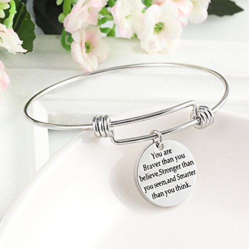 You're Braver Stronger Smarter than you think Inspirational Bracelet Expandable Bangle Gift for Women Men