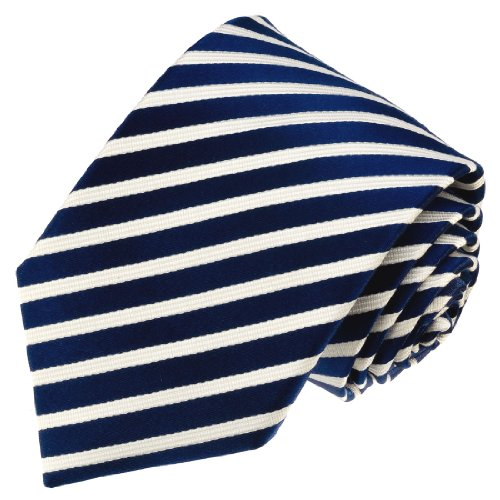 - LORENZO CANA - Italian 100% Silk Tie Jacquard Woven Necktie Blue Navy White - 84337