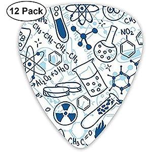 Plektren 12-tlg, Cartoon Blue Chemistry-Plektren für E-Gitarre, Akustikgitarre, Ukulele oder Bassgitarre, Stärke 3