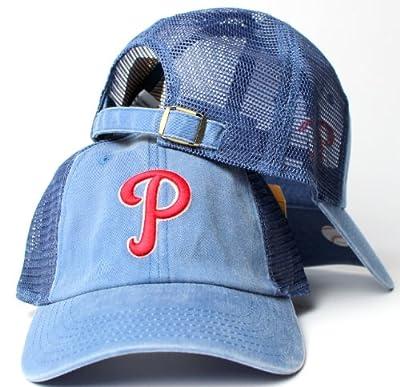 Philadelphia Phillies MLB American Needle Raglan Bones Soft Mesh Back Slouch Twill Cap Blue