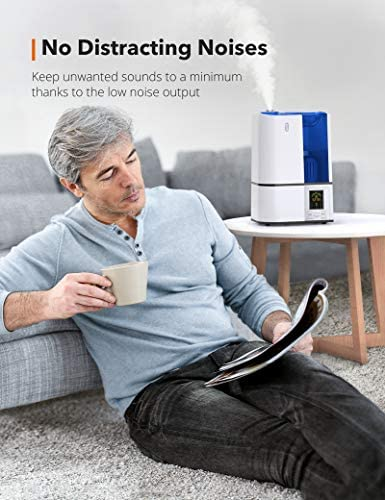 5175YicB2pL. AC - TaoTronics Humidifiers, 4L Cool Mist Ultrasonic Humidifier For Bedroom Home Large Room Baby Room, Quiet Operation, LED Display With Humidistat, Waterless Auto Shut-off (1.06 Gallon, US 110V)